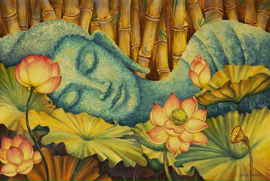 Coltiva la tua pace interiore: un Buddha dormiente circondato da fiori di loto